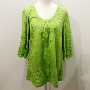 LIZ CLAIBORNE L Tunic Top Solid Green Poet Sleeve